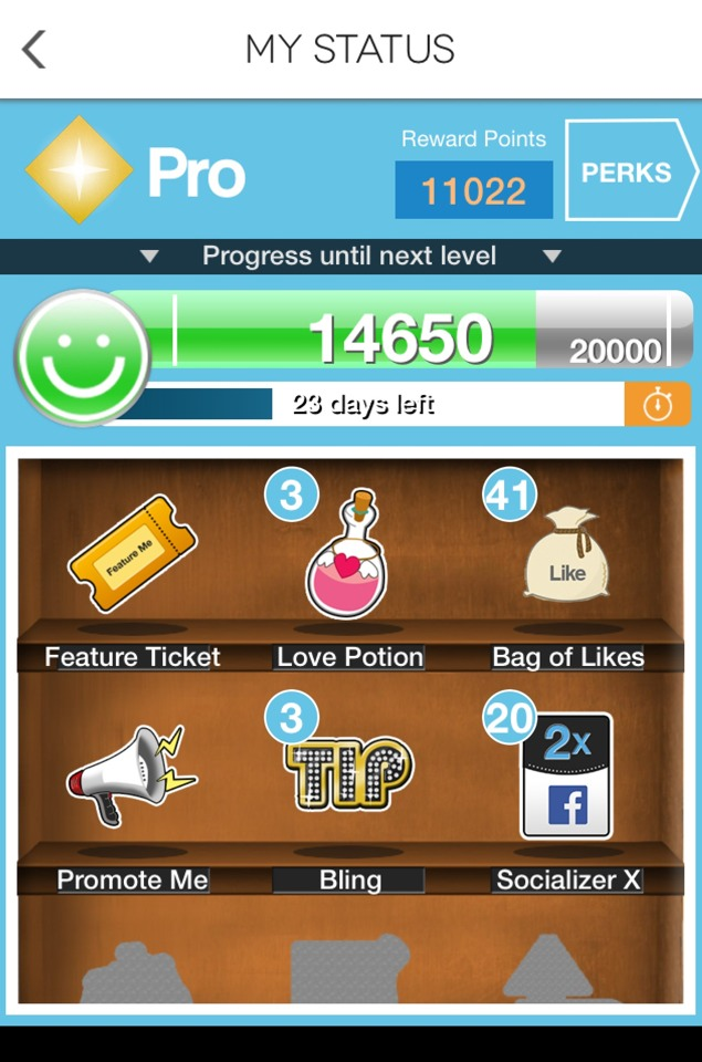 If you want your tips to get that extra touch of popularity, then go here by tapping on the crown 👑 icon on the middle right side of your profile!   Level up and see how far left until you achieve the next status level-up! This comes along with useful perks, such as the love potion & --> Continued.