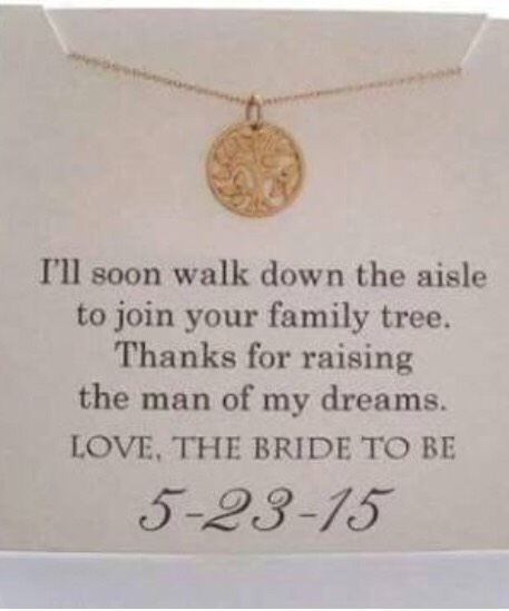 I love this idea, a gift for the bride to give the grooms mother.