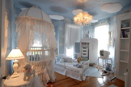 Sleeping in the Clouds  Using clouds as a launching point for designing a nursery is such a cute idea.