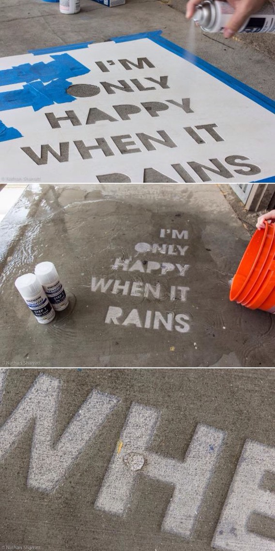 Use a stencil and Spray Never Wet onto concrete! It will last for a long time and only shows up when it's raining or wet! This is beyond cool