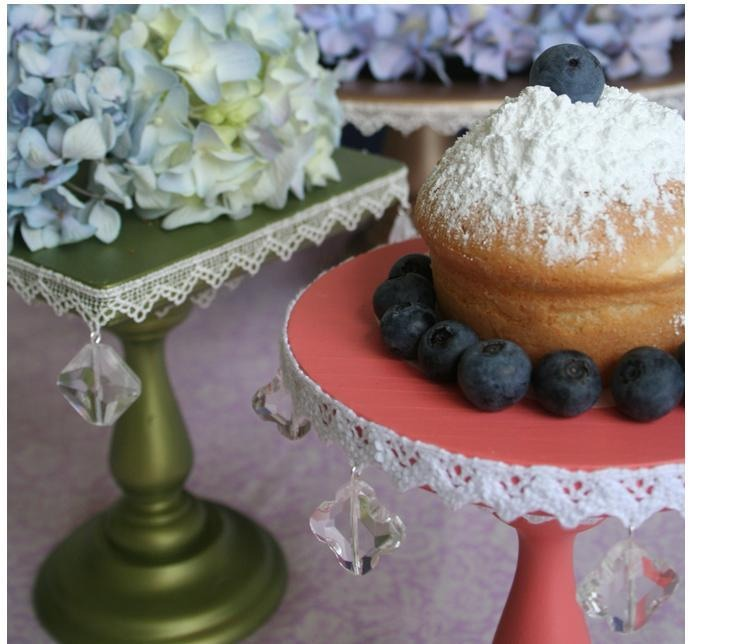 Cake stands- all you need are dishes and glue. Paint it up any way you like! The tutorials stand is a bit more elegant, but definitely harder, it's your call which one to follow. http://www.nelliebellie.com/mini-domed-cake-stand-tutorial/