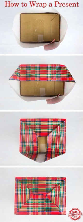11. If you have several of the same-size box to wrap, pre-cut pieces of paper, and use this quick-wrap style.   And for a clear step-by-step | http://www.scotchbrand.com/3M/en_US/scotch-brand/seasonal/jack-transparent-tape/  Or watch below.