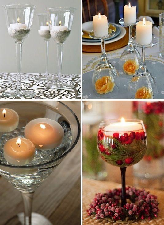 Turn simple candles into a beautiful display using wine glasses. They make easy but charming centerpieces for formal affairs such as weddings, dinner parties or anniversaries.