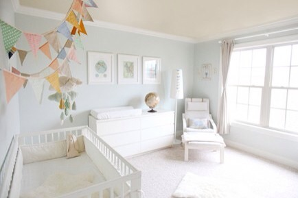 All White  The idea of an all white nursery sounds so sleek and pretty, but I'd be afraid that once the baby is on the move that I would be regretting the white.