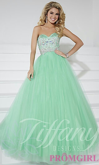 Pale Green Ball Gown w/ Sequin Bodice