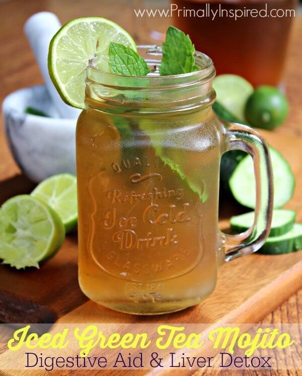 Iced green tea mojito ⭐️Digestive aid And liver Detox⭐️ RecipeHere