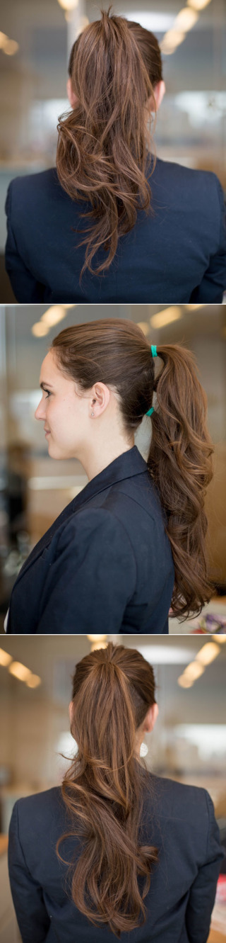 make 2 ponytails to create a longer thick ponytail