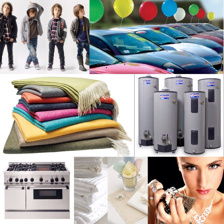November-  boys clothing blankets water heaters ranges household linens used cars and jewelry.