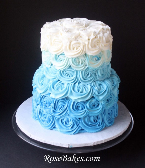 Blue swirl rose cake