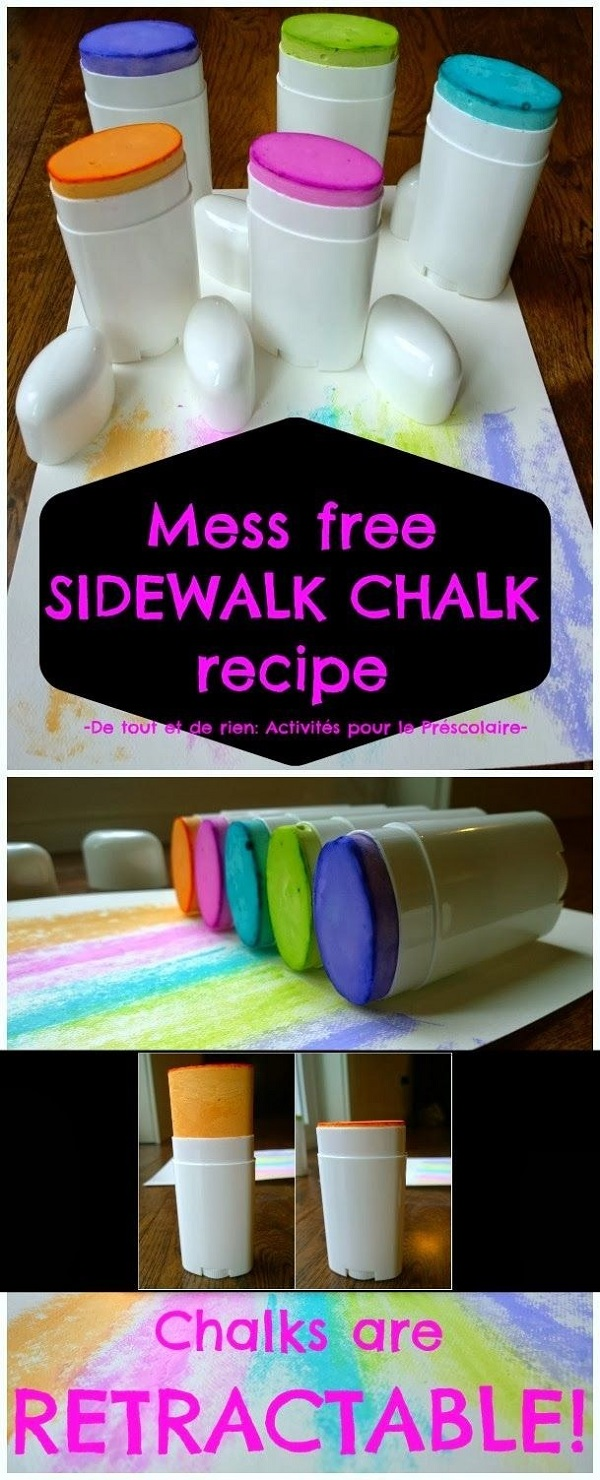 Make mess-free chalk for drawing on sidewalks.