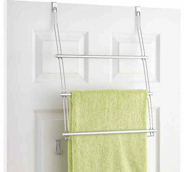 Multi-layer towel drying rack. ($14.99)  http://www.containerstore.com/s/classico-overdoor-towel-rack/d?productId=10014394&q=Classico%20overdoor