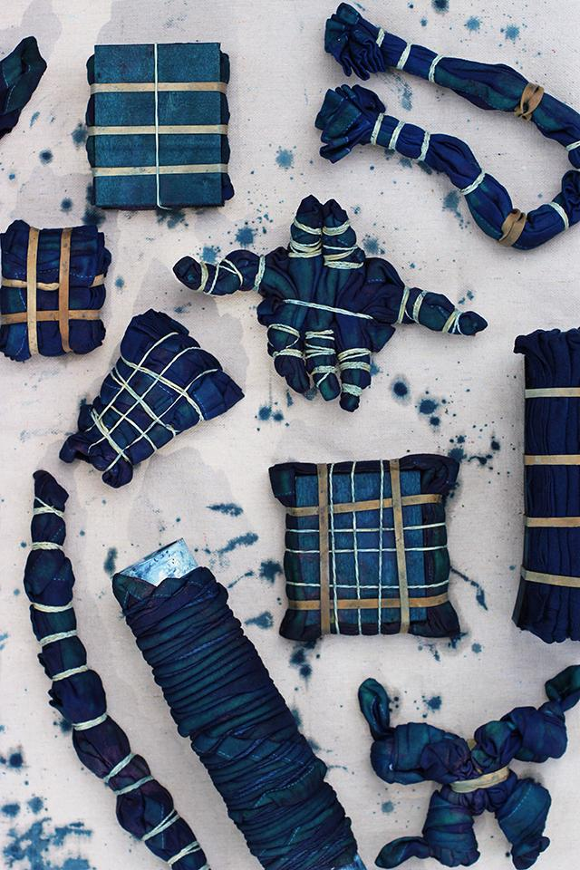 After all the pieces have been dyed and allowed to oxidize, go ahead and repeat the dying process. The more it goes into the dye bath, the darker the indigo hue the fabric will be. And remember, the fabric will always look darker when wet and will fade a bit when washed for the first time.