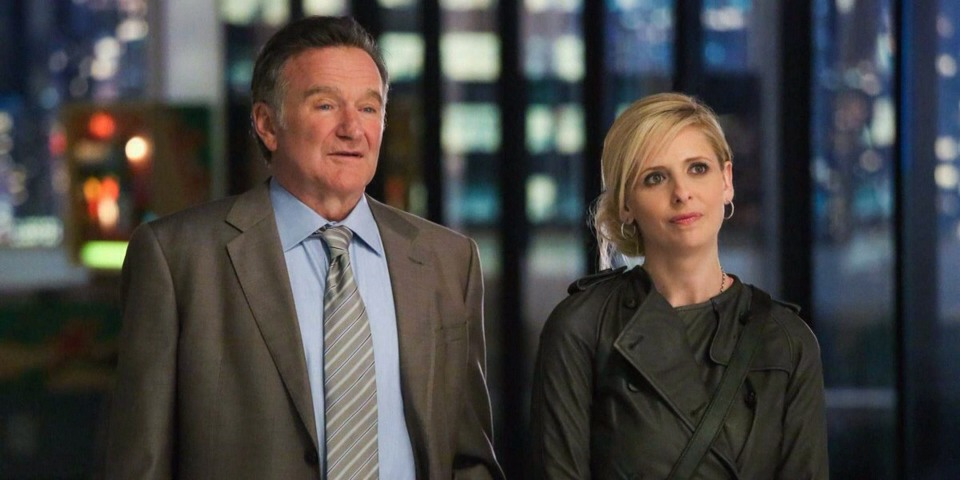 """12. """"The Crazy Ones"""" (CBS). What it's about: Father-daughter ad execs (Robin Williams and Sarah Michelle Gellar) take on the industry — and will sink to any level for success (i.e. the pilot features the pair performing a rap for Kelly Clarkson, playing herself)."""