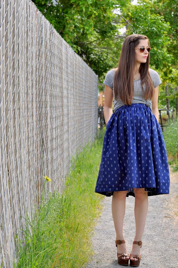 gathered A-line skirt