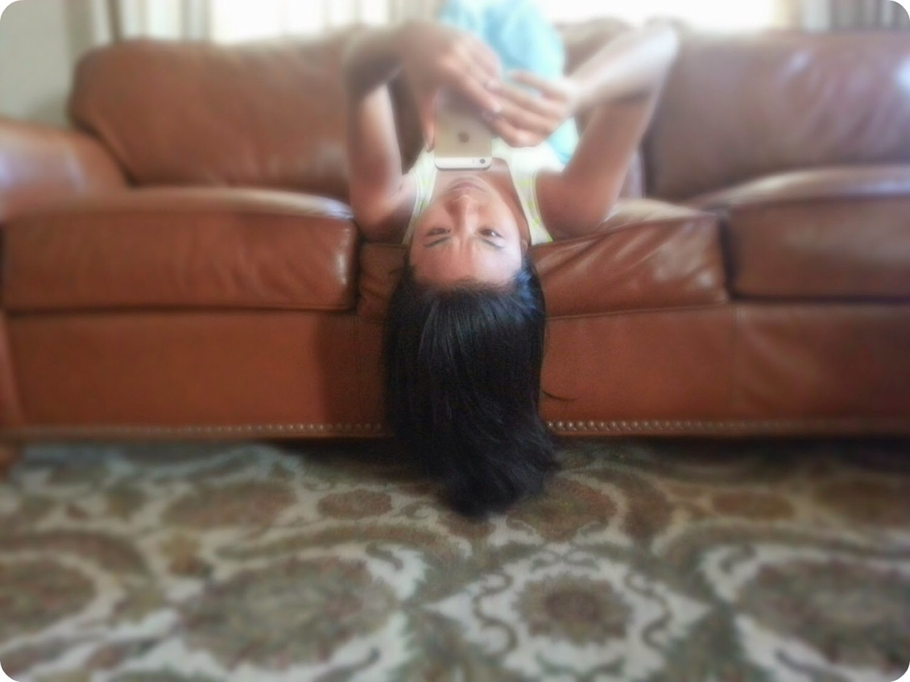 (Not me) tilt your head/lay back (like the one in the picture)