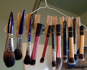 Store your brushes upside down so the water needing to dry from the brushes, does not ruin your brushes because of the attachment of the brush .