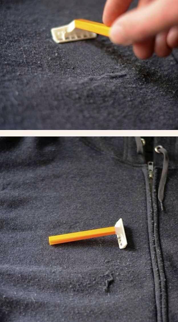 Use a razor to defuzz clothes.