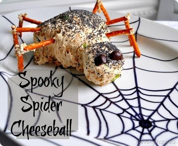 Spooky Spider Cheeseball  http://cleverlyinspired.com/2012/11/sharpie-love/