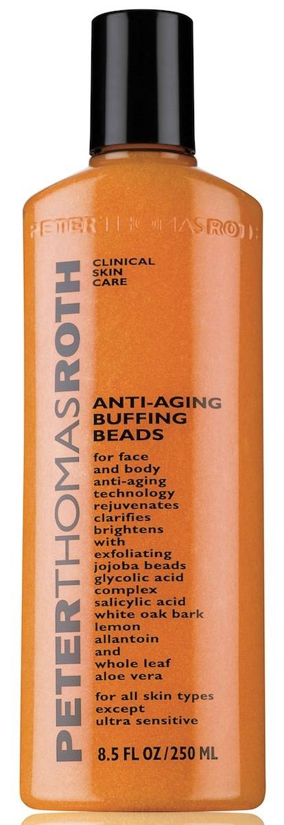 If your skin is oily or acne-prone this packs salicylic acid and jojoba beads, plus skin-soothing allantoin and aloe vera. which cuts through oil to keep pores unclogged, thus preventing breakouts. Try Peter Thomas Roth Anti-Aging Buffing Beads ($36)