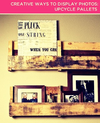 """Reuse Old Items. Give unwanted """"junk"""" a new lease on life by turning it into a unique photo display. Before you toss out a flat bicycle tire or an old shutter, see how it fits in with your living room décor."""