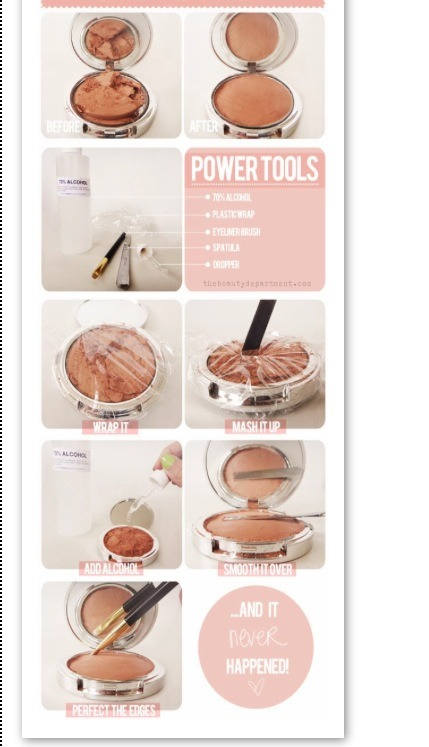 Got a cracked powder or blush? Use rubbing alcohol to bind it together and wrap it. Smash the powder again and then smooth it over with an eyeliner brush. This should make it look like a whole new powder.