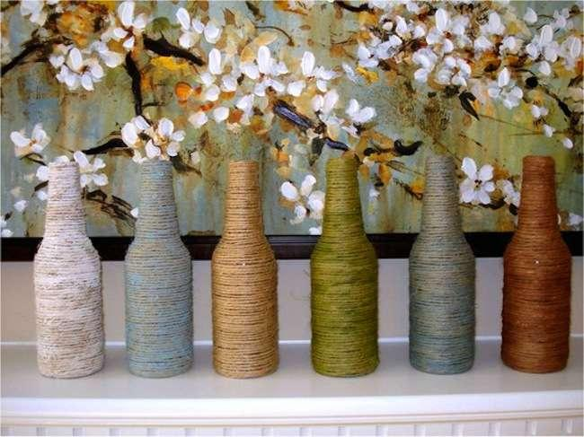 Yarn-Wrapped Bottle Vases