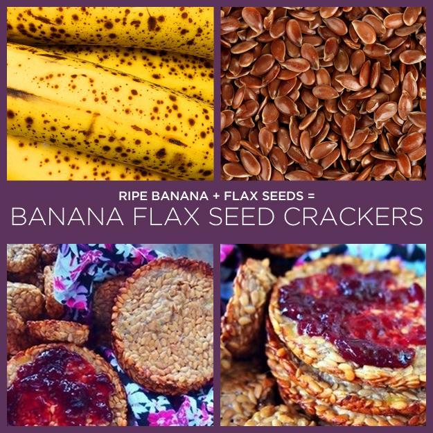 Ripe Banana + Flax Seeds = Banana Flax Seed Crackers