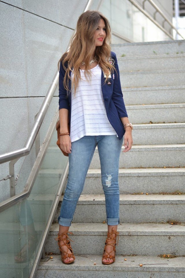 Striped Tee and Blazer