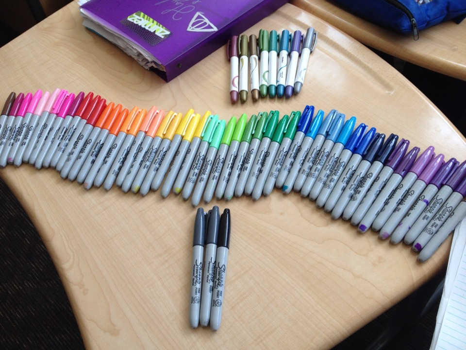 What you'll need:  Sharpies (of various colors)  Clear polish  Glittery polish