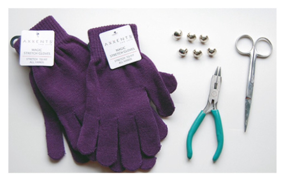 Supplies~ * Studs (or buttons)... It's up to you!! * 1 pair of simple gloves * pliers, scissors, needle, & thread * Fray Check (optional)