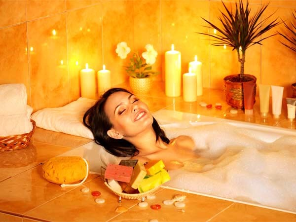 Take a relaxing bubble bath and use your fav bath time products