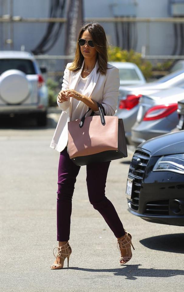 Show Personality in Your Shoes at Work  Freshen up your workwear with an interesting shoe and a pant or hemline that shows it off. Jessica Alba's professional-chic look works because it doesn't distract us, but still shows personality.