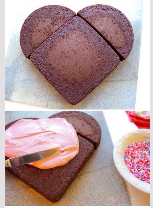 Cut the circle cake in half and place them to two sides of the square cake. Put frosting and sprinkles on it and there you go.