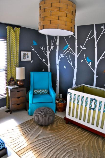 Go with darker colors and trees for a sleepy forest setting. Nite nite baby!