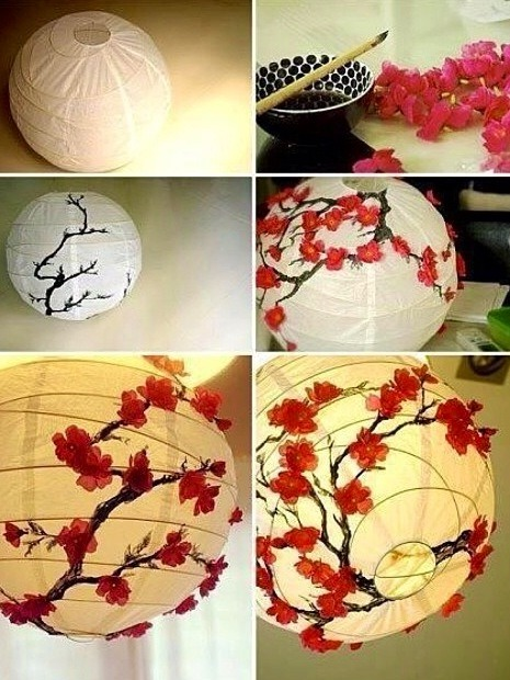 Use brown or black paint to create branches all around the lantern then once dry, take fake flowers and hot glue them to the Lenten and viola a pretty lantern😊