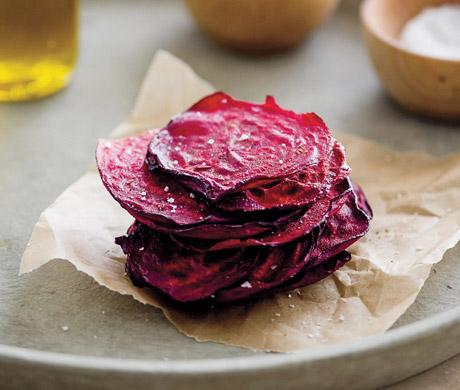 """Preparation  Preheat oven to 350°. Line several baking sheets with parchment paper.  Using a mandolin, thinly slice beets to a thickness of 1/16"""". In a large bowl, toss beet slices with oil to coat evenly. On prepared baking sheets, in a single layer, arrange as many slices as will fit w/o crowding."""
