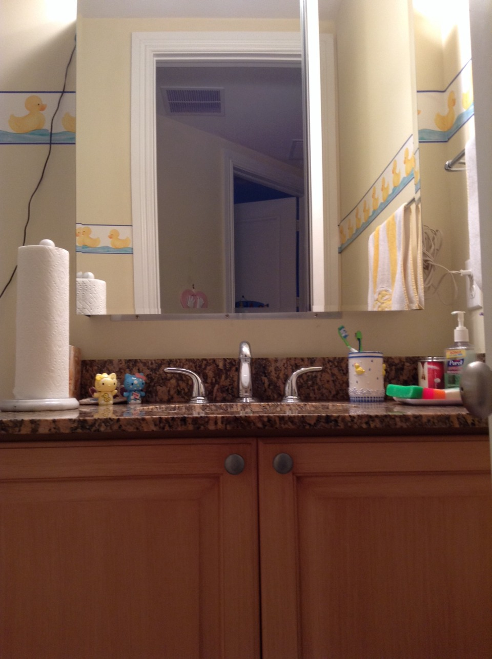 The first thing you see when you walk into my bathroom is the vanity/sink. I have a medicine cabinet and an under-sink cabinet.