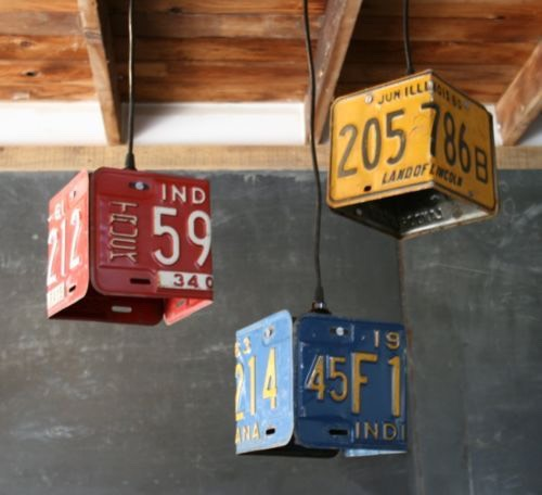 License plates into light fixtures