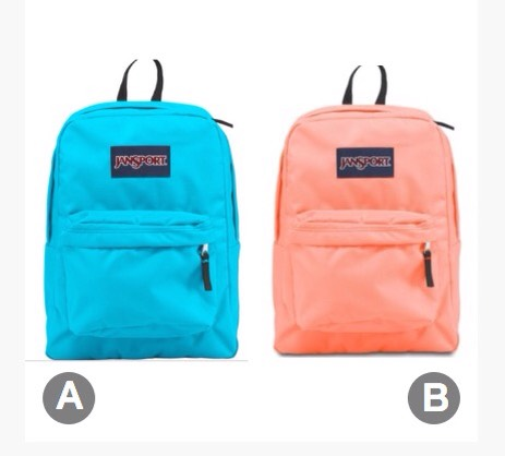 These two are the same type of backpack, I need your guys' help on which colour would be better for school.  A = Blue B = Peach