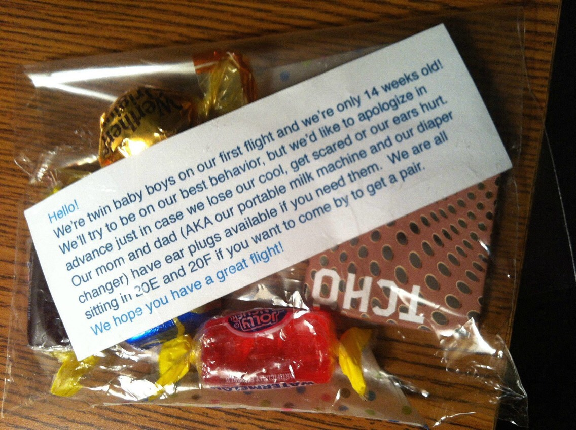 A Thoughtful gesture from parents on a flight.