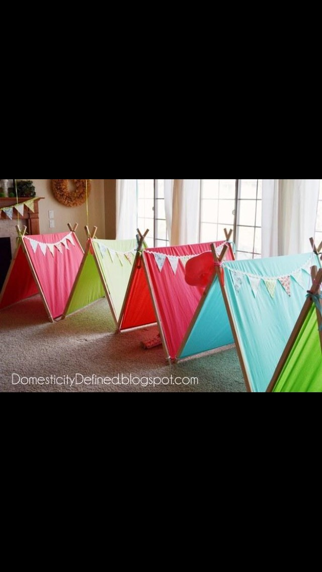 Little tents for separate places for the people to sleep