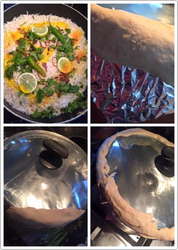 -Finally add few slices of lemon , greenchilli 3, food colour (dissolved inmilk) -now cover ur lid with foil and wheat flour mixture all side very tightly the inside air should not come outside -then cook it on a medium flame for 20- 30 min