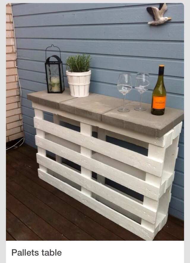 Take two pallets paint them color of you choice. Place them together, place 3 patio blocks on top and instant table.  Please don't forget to like. If your going to save then please remember to like if your out if likes then please hit the share button. Don't forget to view my others tips as well.