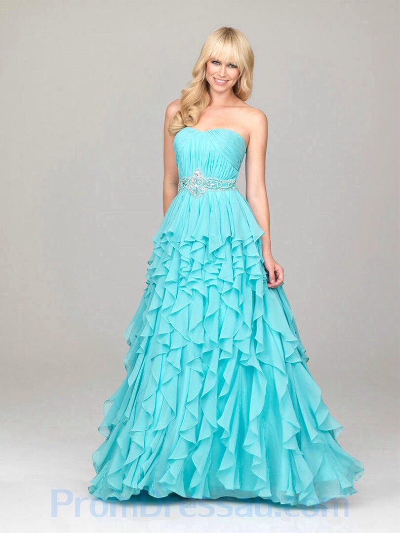 A Line Beaded Little Sweetheart Chiffon Blue Amazing Prom Dresses from http://www.promdressau.com/Prom-Dresses/