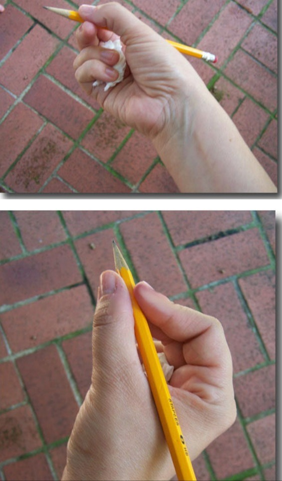 Get your kids to hold a pen the correct way by getting them to hold some tissue in their fingers