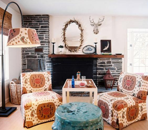 Cabin Chic A rustic retreat gets a pop with slipper chairs covered in a tribal ikat. It gives the outdoorsy cabin a feminine spin.