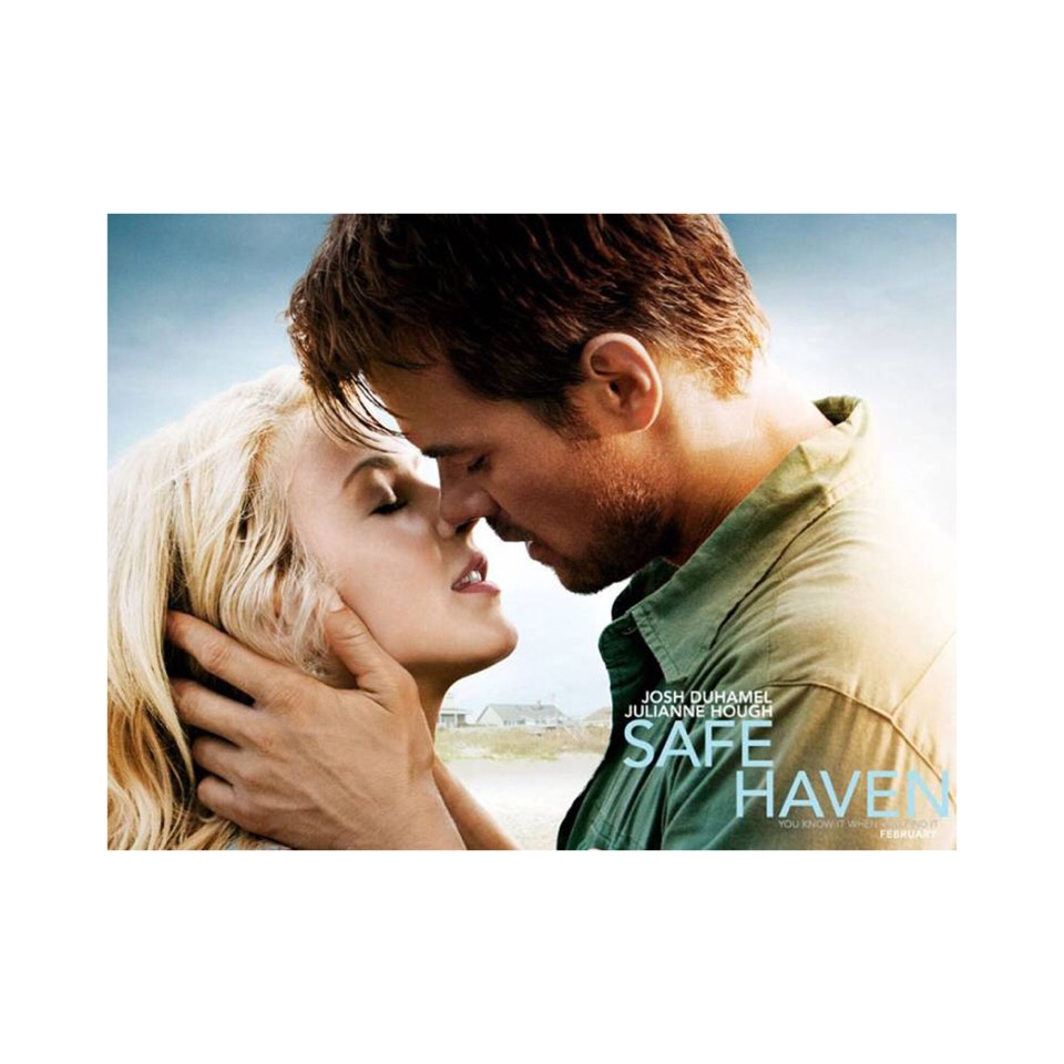 Safe Haven (2013)   Safe haven will make you want to move out into a small town and just be free. It's thrilling in the sense that she is a runaway hiding in this small town where she finds true love. If you love movies with surprises/twist this is definitely one.  And if you like Robin Sparkles..