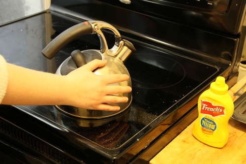 Use mustard to suck the pain out of a burn. But also, don't put your hand on a boiling kettle.