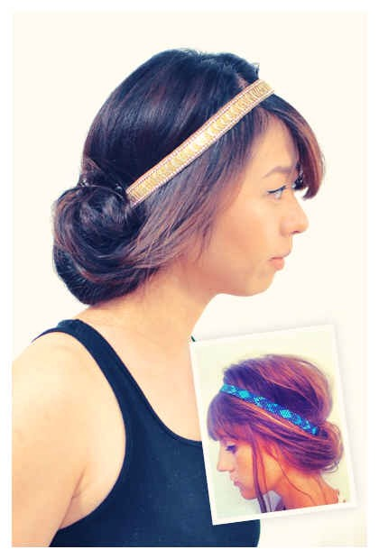 Roll your hair up into an elastic hairband This is a great way to get beachy waves, too, if you have long hair.