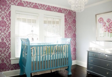 Colored Crib  What an elegant baby nursery and it's still so minimal.